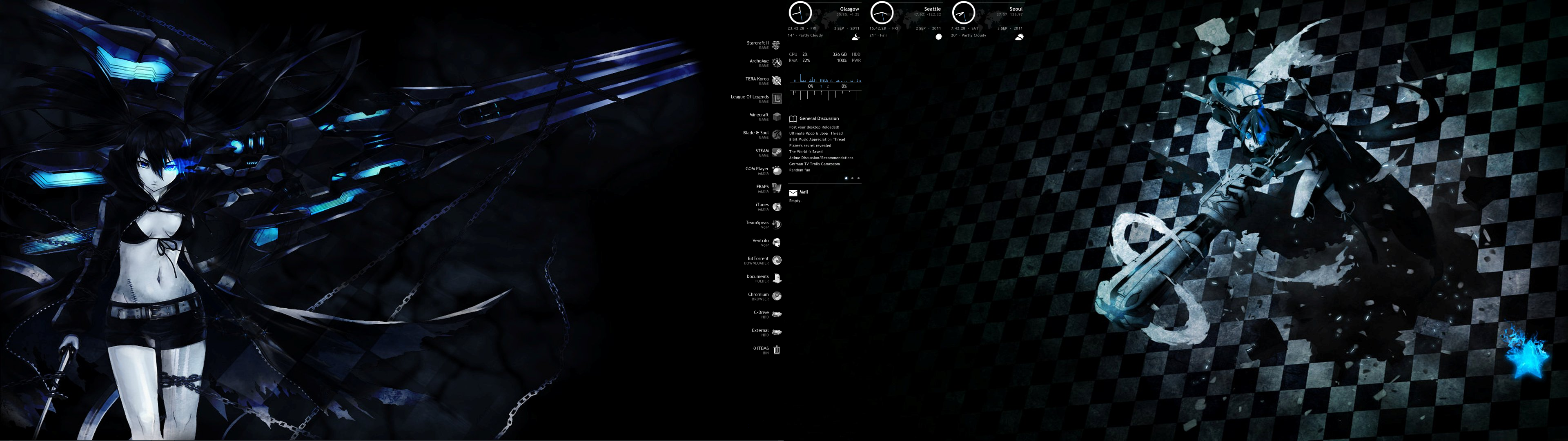 the background black rock shooter over two monitors and the icons down the middle are on the edge of the primary screen so its not just randomly placed on